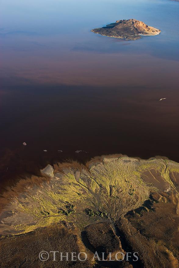 Kenya, Rift Valley, heavily eroded volcano in Lake Logipi, northern Kenya,