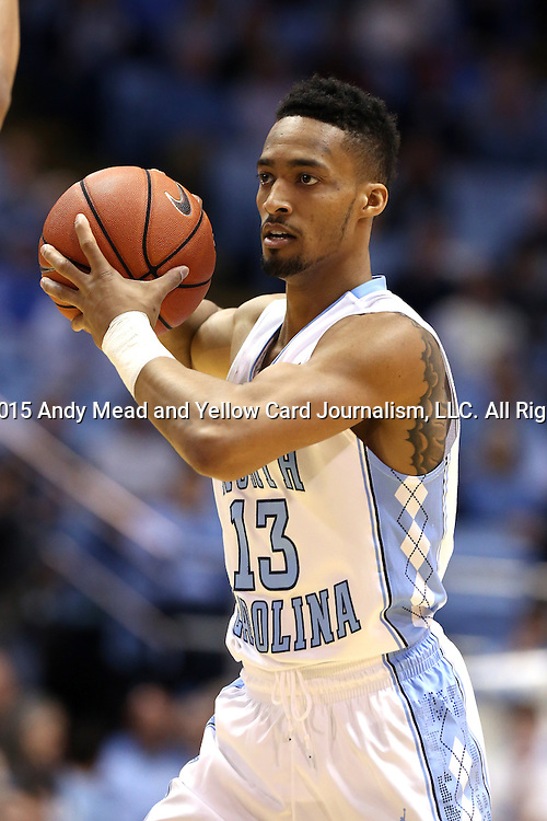02 February 2015: North Carolina's J.P. Tokoto. The University of North Carolina Tar Heels played the University of Virginia Cavaliers in an NCAA Division I Men's basketball game at the Dean E. Smith Center in Chapel Hill, North Carolina. Virginia won the game 75-64.