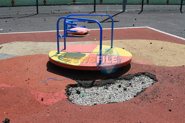 the scene of the destruction on the new playground in Moneymore..Picture Fran Caffrey/Newsfile.ie