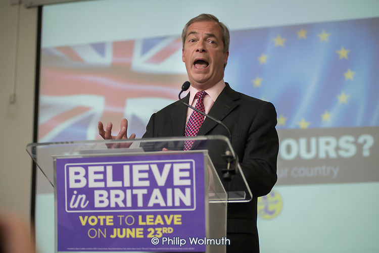 Nigel Farage. UKIP EU referendum press conference, London.
