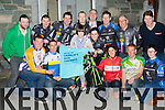 Kerry cycling clubs combined to launch the Crumlins Sick Children cycle race in St Brendan's College Killarney last Wednesday front row l-r: Brendan O'Connor Chain Gang, Cian Hogan Tralee, Brian Hannafin, pat Leane Killarney CC, Sinead Leahy Tralee Lee Strand, Edward Casey Killorglin, Kelliher Sliabh Luachra CC. back row: Denis O'shea, Mike Kissane, Brian Hannafin Mike O'Leary, John Joe Culloty Killarney Mayor, Donie Kelliher, Brendan Cassidy and Colin House