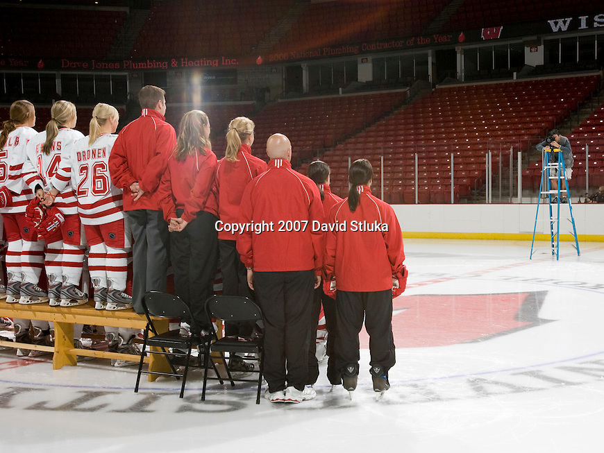MADISON, WI - SEPTEMBER 24: Behind the schenes photos of the Team photo of the Wisconsin Badgers Women's Hockey Team taken at the Kohl Center on September 24, 2007 in Madison, Wisconsin. The Badgers are two-time defending National Champions. (Photo by David Stluka)
