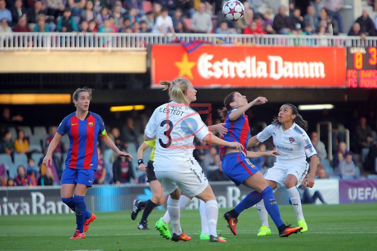 UEFA Women's Champions League 2016/2017.<br /> Quarter Finals.<br /> FC Barcelona vs FC Rosengard: 2-0.<br /> Emma Berglund, Vicky Losada, Amanda Ilestedt &amp; Marta Vieira.
