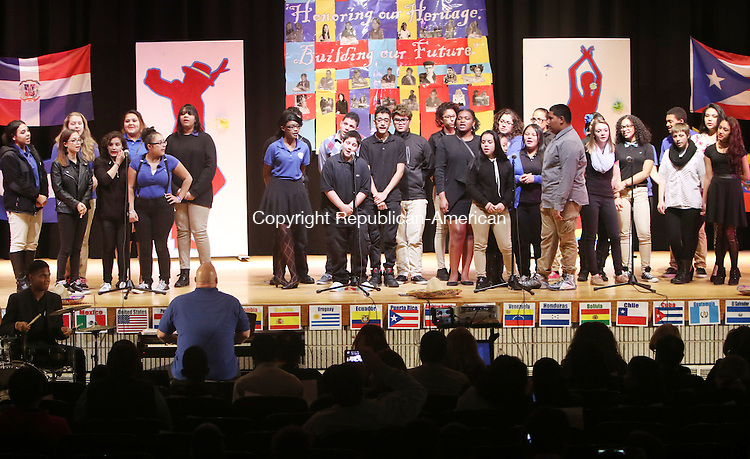 WATERBURY CT. 26 October 2015-102715SV08-The Crosby High Choir sings, Stand By Me, during the annual Hispanic Heritage Month celebration at Crosby High in Waterbury Tuesday. Students from around the district gathered at Crosby High School to watch performances of Hispanic culture by students of all ages.  <br /> Steven Valenti Republican-American