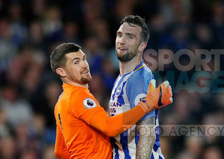 Matthew Ryan of Brighton laughs with Shane Duffy of Brighton after he nearly scored an own goal during the premier league match at the Amex Stadium, London. Picture date 17th April 2018. Picture credit should read: David Klein/Sportimage