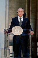 Roma, 4 Luglio 2019<br /> Palazzo Chigi.<br /> il Presidente della Federazione Russa Vladimir Putin durante l'incontro con Il Presidente del Consiglio .