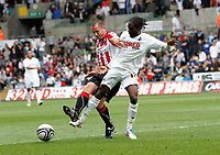 Npower Championship, Swansea City FC (white) V Sheffield United. Sat 7th May 2011 (12.45pm KO)<br /> Pictured:Swansea Nathan Dyer and Michael Doyle  <br /> Picture by: Ben Wyeth / Athena Picture Agency<br /> info@athena-pictures.com<br /> 07815 441513