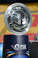 BOGOTA - COLOMBIA, 20-01-2018: El trofeo del torneo es visto previo al encuentro entre Independiente Santa Fe y Deportivo Cali por el Torneo Fox Sports 2018 jugado en el estadio Nemesio Camacho El Campin de la ciudad de Bogotá. / The trophy of the tournament is seen prior the match between Independiente Santa Fe and Deportivo Cali for the Fox Sports Tournament 2018 played at Nemesio Camacho El Campin Stadium in Bogota city. Photo: VizzorImage / Gabriel Aponte / Staff.