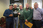 Left to right, Tom Gosiorowski, Joe Zieleniewski, Bing Carlson, Al Haines, and Dave Farnsworth pose with a bottle of Purple Cow Cocktail during the 1960s hockey alumni reunion at the OU Inn on October 1, 2016.