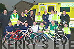 CYCLISTS: Announcing details of the forth coming Emergency Service and Friends Charity Cycle in aid of Kerry General Hospital A&E Department and Enable Ireland where membrs of the Gardai, Fire and Rescue, Ambuklance and A&E Service at the Civil Defence, Headquarters, Balloonagh, Tralee on Thursday. Front l-r: John Fitzgerald, DJ O'Connell, Johnny O'Donnell, Aidan O'Dwod, Alan McCrohan, Simon Evans and Garda Damian Jermyn. Back l-r: John Cronin, Nealie Warren, Suzanne Scully, Garda Sgt Dermot O'Connell(Traffic Corp), Ted Fitzgerald(mayor of kerry), Garda Emma Mullane, Tom Brosnan (Civil Defence), Gearo?id Constable, Garda Trish Fitzpatrick and Sean Scally (Enable Ireland). ..