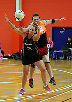 30.10.2014 Silver Ferns Cathrine Latu in action during training ahead of the second test match in Palmerston North. Mandatory Photo Credit ©Michael Bradley.
