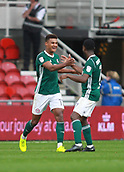 30th September 2017, Riverside Stadium, Middlesbrough, England; EFL Championship football, Middlesbrough versus Brentford; Ollie Watkins of Brentford is congratulated by Florian Jozefzoon after he made it 1-2 in the 72nd min