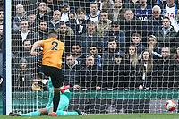 Matt Doherty of Wolverhampton Wanderers scores the first Wolves goal during Tottenham Hotspur vs Wolverhampton Wanderers, Premier League Football at Tottenham Hotspur Stadium on 1st March 2020