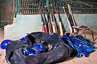 24 May 2009: Bats are seen near the dugout during the 2009 challenge de France, a tournament with the best French baseball teams - all eight elite league clubs - to determine a spot in the European Cup next year, at Montpellier, France. Senart wins 8-5 over La Guerche.