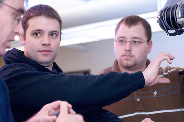08-18577..College of Engineering Classroom shots..Dusan Sormaz, Dane Turk, and Daniel Folz(brown)