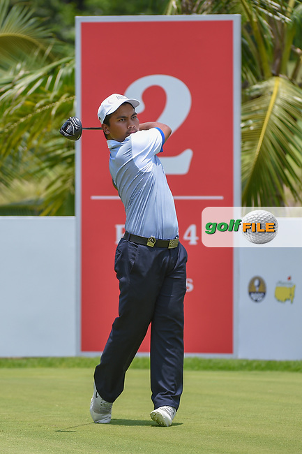 Muhammad Afif FATHI (MAS) watches his tee shot on 2 during Rd 1 of the Asia-Pacific Amateur Championship, Sentosa Golf Club, Singapore. 10/4/2018.<br /> Picture: Golffile | Ken Murray<br /> <br /> <br /> All photo usage must carry mandatory copyright credit (© Golffile | Ken Murray)