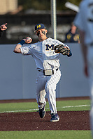 Michigan Wolverines third baseman Blake Nelson (10) makes a throw to first base during the NCAA baseball game against the Eastern Michigan Eagles on May 8, 2019 at Ray Fisher Stadium in Ann Arbor, Michigan. Michigan defeated Eastern Michigan 10-1. (Andrew Woolley/Four Seam Images)