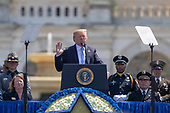United States President Donald J. Trump delivers remarks during the the 37th Annual National Peace Officers' Memorial Service on the West Front of the United States Capitol Building in Washington, DC on May 15, 2018. Credit: Alex Edelman / CNP