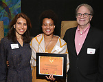 Sarah Stern, Charly Evon Simpson and Douglas Aibel  during the Vineyard Theatre's Emerging Artists Luncheon honoring Charly Evon Simpson with the Paula Vogel Playwriting Award at the National Arts Club on November 25, 2019 in New York City.