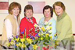 FLOWER ARRANGING: At the Tralee Flower & Garden meeting in the Grand Hotel, Tralee, on Monday evening were l-r: Kathleen Ambrose, Margaret Groves (chairperson), Maura Miller and Nuala Griffin.   Copyright Kerry's Eye 2008