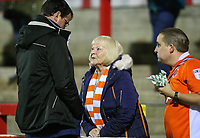A Blackpool fan talks to Gary Bowyer<br /> <br /> Photographer Alex Dodd/CameraSport<br /> <br /> EFL Checkatrade Trophy - Northern Section Group B - Accrington Stanley v Blackpool - Tuesday 3rd October 2017 - Crown Ground - Accrington<br />  <br /> World Copyright &copy; 2018 CameraSport. All rights reserved. 43 Linden Ave. Countesthorpe. Leicester. England. LE8 5PG - Tel: +44 (0) 116 277 4147 - admin@camerasport.com - www.camerasport.com