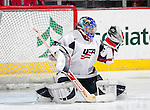 January 5, 2010: USA Hockey goalie Jesse Vetter (31) makes a save during warmups during an exhibition women's hockey game against the Wisconsin Badgers at the Kohl Center in Madison, Wisconsin on January 5, 2010.   Team USA won 9-0. (Photo by David Stluka)
