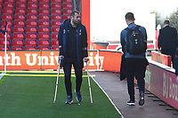 Steve Cook of AFC Bournemouth arrives at the ground on crutches due to a groin injury  during AFC Bournemouth vs Wolverhampton Wanderers, Premier League Football at the Vitality Stadium on 23rd February 2019