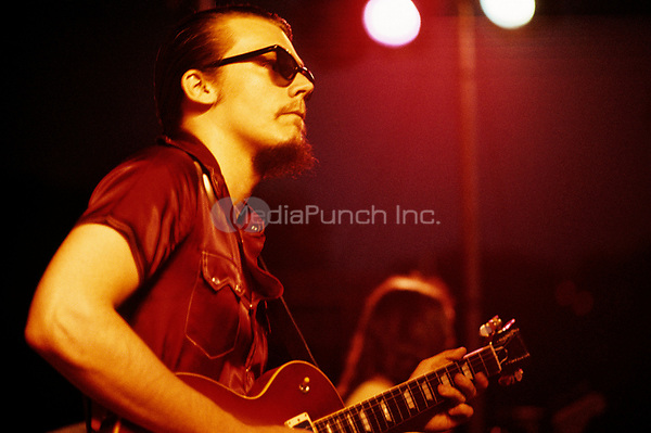 J. Geils of the J. Geils Band jams with the Allman Brothers Band during the Sunset concert series 'Summerthing' at Boston Common in Boston, MA in the summer of 1971. © Peter Tarnoff / MediaPunch