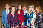 L-R Adrain O'Sullivan, Grain Fitzgibbon, Sinead Herve, Paul Mahoney, Deirdre Fitzgibbon and Louise Mahoney at the Lee Strand social last Saturday night in the Ballygarry House hotel, Tralee.
