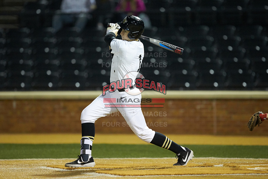Drew Kendall (1) of the Wake Forest Demon Deacons follows through on his swing against the Sacred Heart Pioneers at David F. Couch Ballpark on February 15, 2019 in  Winston-Salem, North Carolina.  The Demon Deacons defeated the Pioneers 14-1. (Brian Westerholt/Four Seam Images)