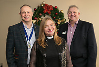 Rev Kate Bottley with NCBC Club President Mark Deakin (left) and Vice President Richard Cooper