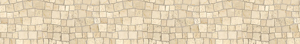 "6"" Bark Birch border, a hand-chopped stone mosaic, shown in tumbled Botticino and Travertine White."
