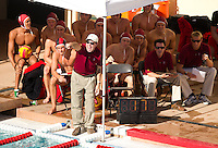 STANFORD, CA - October 9, 2010: Head Coach John Vargas during a water polo game against USC in Stanford, California. Stanford beat USC 5-3.