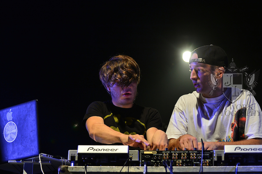 CORAL GABLES, FL - OCTOBER 30: DJ Grant (R) and Duval performs during UM 2014 Homecoming Concert Featuring Matt and Kim with Special Guests Grant & Duval at BankUnited Center on Thursday October 30, 2014 in Coral Gables, Florida. (Photo by Johnny Louis/jlnphotography.com)