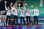 Japan team group (JPN),<br /> SEPTEMBER 1, 2018 - Soft Tennis : <br /> Men's Team  Medal ceremony<br /> at Jakabaring Sport Center Tennis Courts <br /> during the 2018 Jakarta Palembang Asian Games <br /> in Palembang, Indonesia. <br /> (Photo by Yohei Osada/AFLO SPORT)