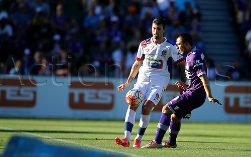 07.03.2016, Perth, Australia. Hyundai A-League, Perth Glory versus Newcastle Jets. iMorten Nordstrand (Jets) takes control of the loose ball during the first half.