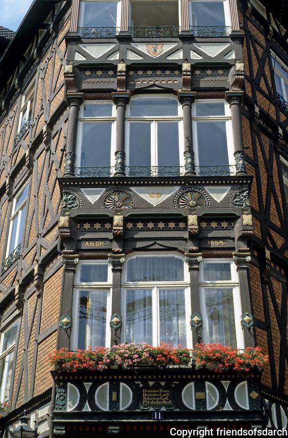 Marburg: Marktplatz. Late 19th C. facade. Photo '87.