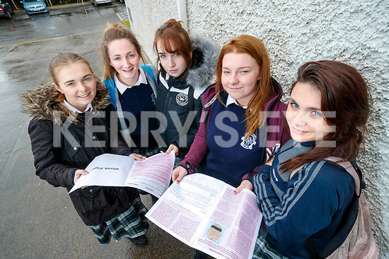 Ciara Curran, Sophie McAllen, Kelly O'Brien, Courtney Wheatcroft and Aoife Lynch, students from Presentation Secondary School, Tralee who sat their Leaving Certificate English exam on Wednesday morning last.
