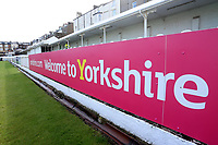General view of Welcome to Yorkshire signage ahead of Yorkshire CCC vs Essex CCC, Specsavers County Championship Division 1 Cricket at Scarborough CC, North Marine Road on 7th August 2017