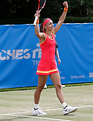 June 14th 2017, The Northern Lawn tennis Club, Manchester, England; ITF Womens tennis tournament; Number seven seed Aleksandra Krunic (SRB) celebrates at the end of her first round singles match against Marina Erakovic (NZL); Krunic won in three sets