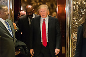 President-elect Donald Trump is seen exiting an elevator following his meeting with media host Steve Harvey Trump Tower in New York, NY, USA on January 13, 2017.  Credit: Albin Lohr-Jones / Pool via CNP