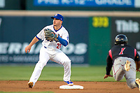 Rancho Cucamonga Quakes shortstop Omar Estevez (21) prepares to tag out Lake Elsinore Storm Eguy Rosario (1) as he attempts to steal second base at LoanMart Field on April 20, 2018 in Rancho Cucamonga, California. The Quakes defeated the Storm 7-5.  (Donn Parris/Four Seam Images)