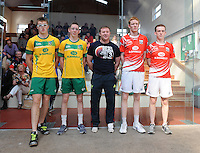 21st September 2013; Minor doubles final referee, Anthony Donnelly (center), with players (l-r) Evan Sheridan, Meath, Robert Fox, Meath, Michael Hedigan, Cork and Daniel Relihan, Cork. GAA Handball, All-Ireland Finals, Broadford Handball Club, Co Limerick. Picture credit: Tommy Grealy/actionshots.ie.