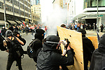 Seattle Police released flash bangs into the crowd of protestors at Second Avenue and Pine Street as tensions escalated during the Solidarity Against Hate rally Sunday August 13, 2017 in Seattle.