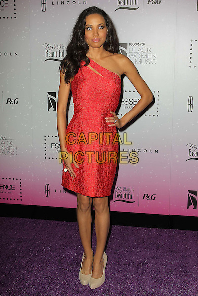 Jurnee Smollett.4th Annual ESSENCE Black Women In Music held at Greystone Manor Supperclub, West Hollywood, California, USA..February 6th, 2013.full length red one shoulder dress hand on hip.CAP/ADM/KB.©Kevan Brooks/AdMedia/Capital Pictures.