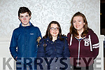 Eoin O'Connell, Amber Pomeranz and Eimear Doyle at the Muckross RC quiz in the Killarney Oaks on Thursday night