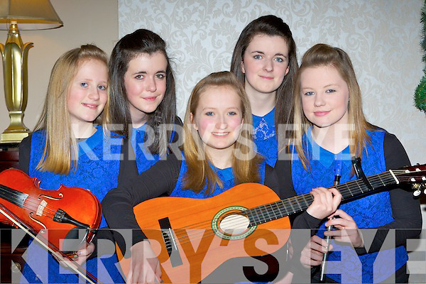 Glenflesk ballad group who performed at the County Scór finals in the Gleneagle Hotel Killarney on Sunday l-r: Ellen Cronin, Roisin Kelleher, Lisa Cronin, Mairead Kelleher and Sinead Moynihan.