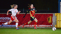 20161128 - TUBIZE ,  BELGIUM : Belgian Tessa Wullaert (R) and Danish Theresa Nielsen (L) pictured during the female soccer game between the Belgian Red Flames and Denmark , a friendly game before the European Championship in The Netherlands 2017  , Monday 28 th November 2016 at Stade Leburton in Tubize , Belgium. PHOTO SPORTPIX.BE | DIRK VUYLSTEKE