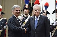 Roma, 24 Ottobre 2012.Palazzo Chigi.Mario Monti incontra il cancelliere austriaco Werner Faymann