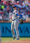 29 June 2017: Chicago Cubs infielder Javier Baez in action against the Washington Nationals at Nationals Park in Washington, DC. The Cubs rallied to defeat the Nationals 5-4 and split their 4-game series. Mandatory Credit: Ed Wolfstein Photo *** RAW (NEF) Image File Available ***
